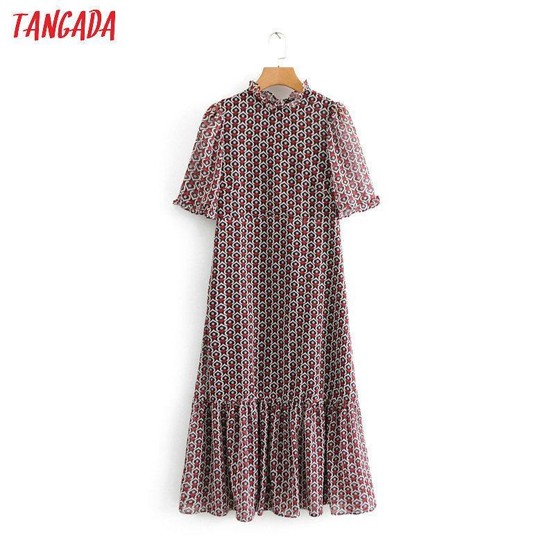 Tangada mujeres de la moda del corazón del vestido plisado vestido volantes cuello manga corta dulce mujer vestidos casuales vestidos Be213 T19052807