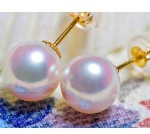 남해 둥근 백색 9-10mm 진주 귀걸이 14k 금 부속품