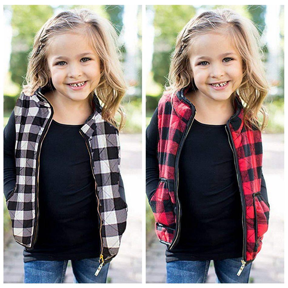 Überprüfen Ärmel Jacke Kids Plaid-Weste mit Taschen Mädchen Warm Reißverschluss Outwear Weste Tank Herbst-Winter-Mantel LJJA3671-13