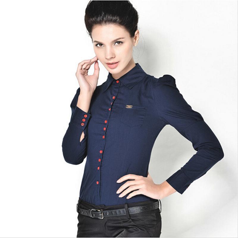 Women's Blouses & Shirts Fashion Elegant Long Sleeve Cotton Body Shirt Button Design Dark Blue White Red S-3XL Plus Size