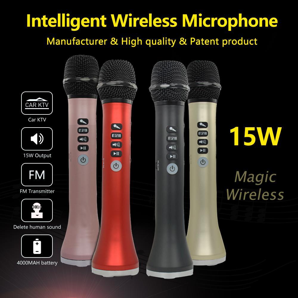 L-698 professionale 15 W Portatile USB Senza Fili di Bluetooth Karaoke Microfono Altoparlante Con Microfono Dinamico
