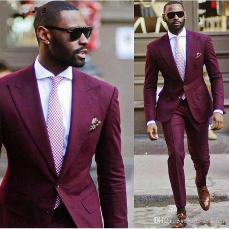 Africaine Deux boutons smokings marié Pic de mariage Smokings hommes Lapel Costumes de mariage / Prom Best Man Blazer Two Pieces (Veste + pantalon)