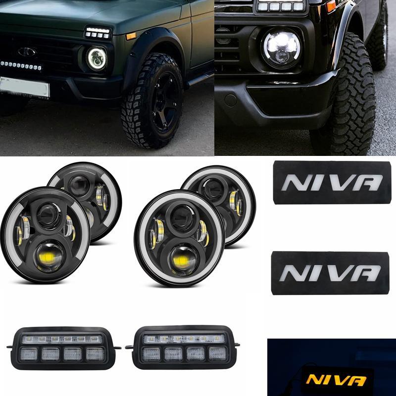 For Lada Niva 7inch Led Headlight Hi/Low Beam Light Halo Angle Eyes DRL Headlamp 1 set LED rear lights for Lada Niva 4x4 1995+