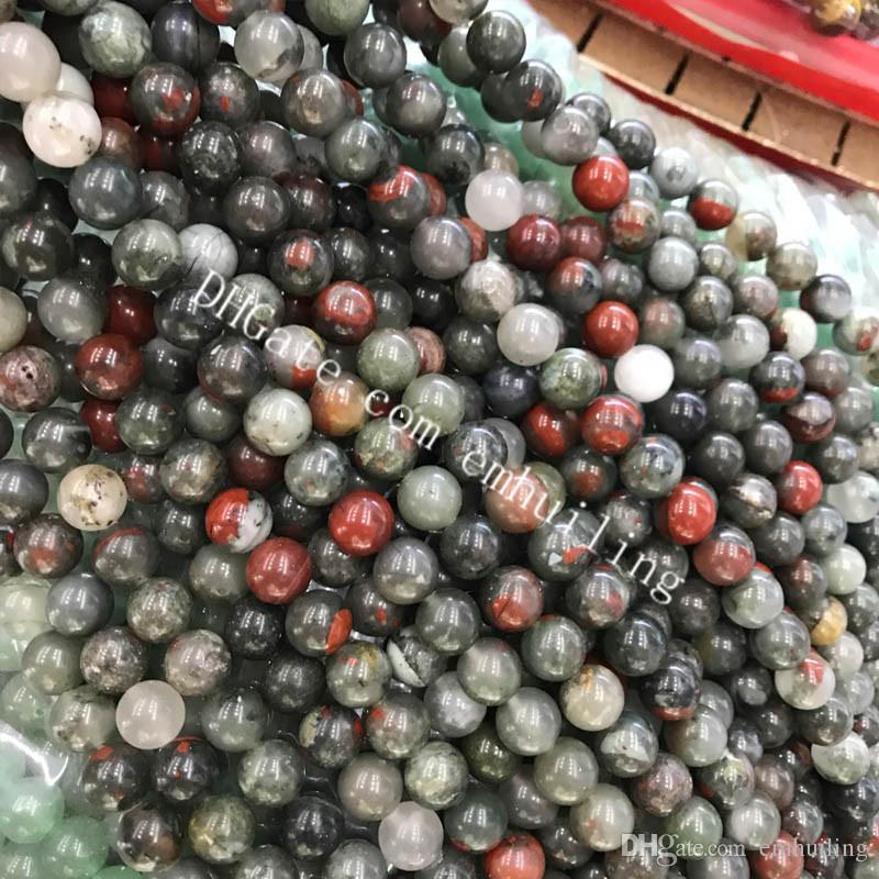 10 Strands Africa Bloodstone Jasper Beads 4mm-12mm Loose Gemstone Natural Bood Stone Smooth Round Beads in Deep Red and Forrest Green Supply