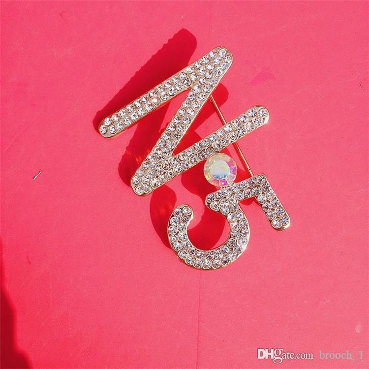 Número joyería del Rhinestone de la broche de alta calidad pernos brillante de Bling Cristal 5 pernos de la solapa broche de manera unisex del traje de boda broches de ropa