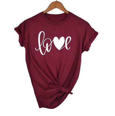 OKOUFEN Love T-shirt Women Female Top Tee Letter Printed New Fashion Cute Harajuku Tumblr Femme T Shirt Plus Size Drop Ship
