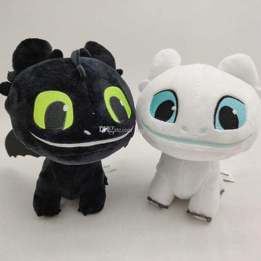 16cm (6.3 inch) How to Train Your Dragon 3 Plush Toy Toothless Light Fury Soft Dragon Stuffed Animals Doll 2019 New Movie 2 Colors C6388