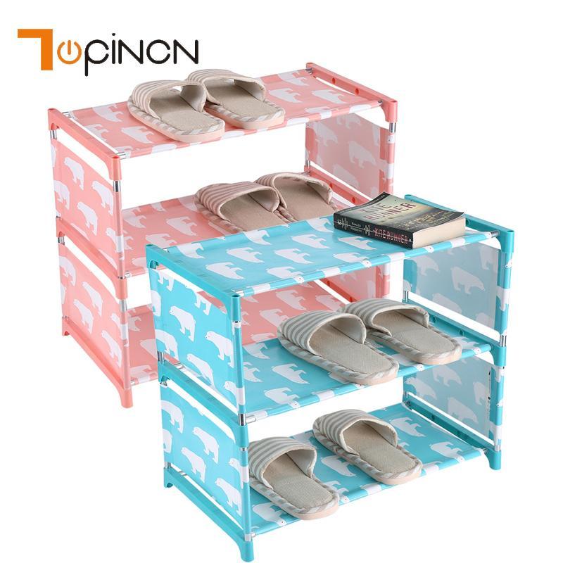 3 яруса нетканые ткани стойки прихожей организатор держатель двери хранения обуви шкаф полка Diy мебель для дома Q190605