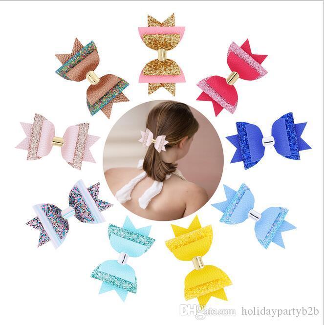 Sólido Kids Girls Ribbon Hair Bow Clips con horquillas Boutique Horquillas Accesorios para el cabello Princesa hecha a mano Headwear