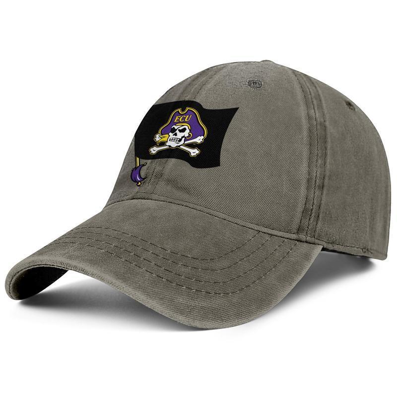 Piratas Universidade ECU Flay Preto Unisex cap denim baseball legal projetar seu próprio personalizado moda chapéus Bandeira Logo roxo East Carolina