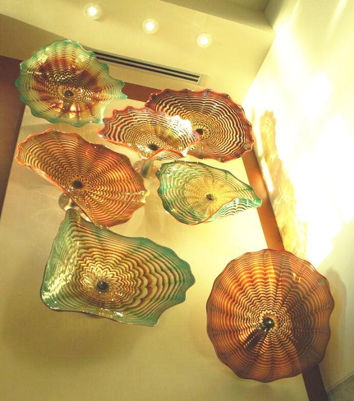 Ámbar murano vidrio placas de arte 100% soplado de pared lámpara de pared decoraciones de flores decoraciones placa