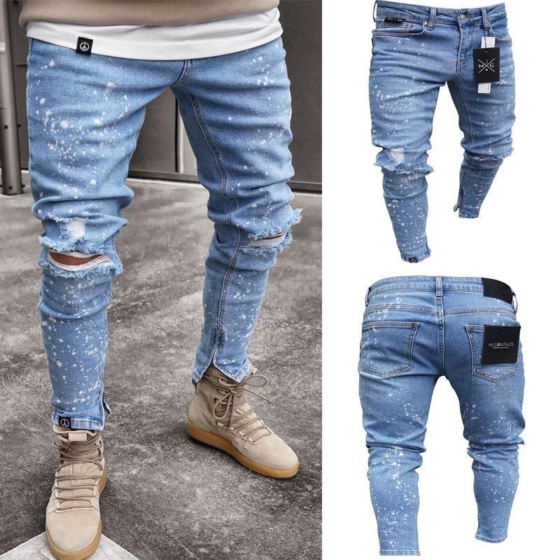 Hirigin Fashion Designer Men Zipper Jeans Men's Ripped Skinny Biker Jeans Destroyed Frayed Slim Fit Denim Pants Biker Jea