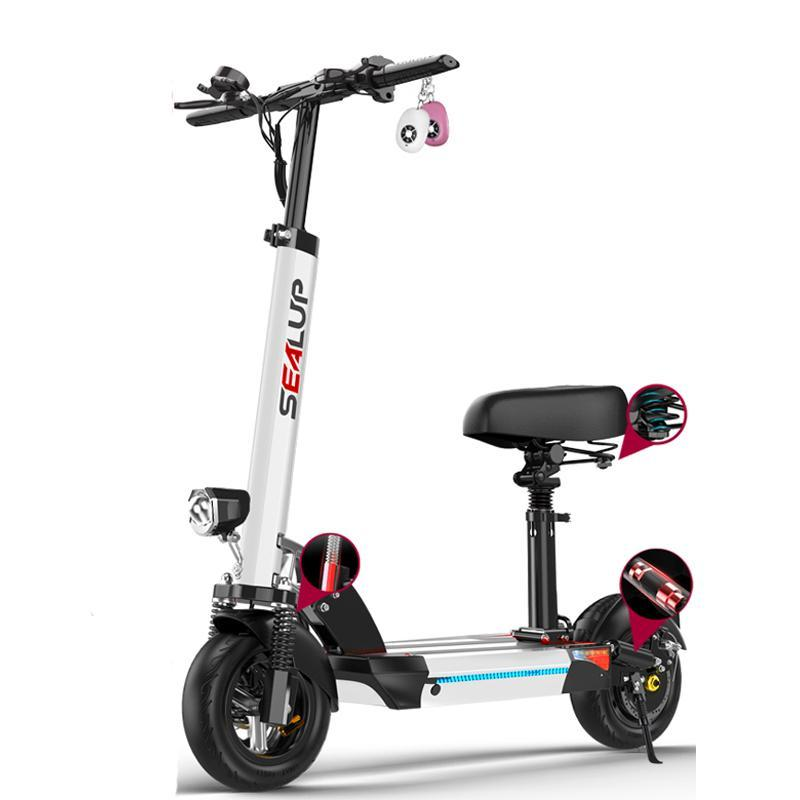 10-дюймовый электрический самокат Велосипеды электрические 500W 48V 150km GPS Складной велосипед E Scooter сиденья для взрослых черный / белый