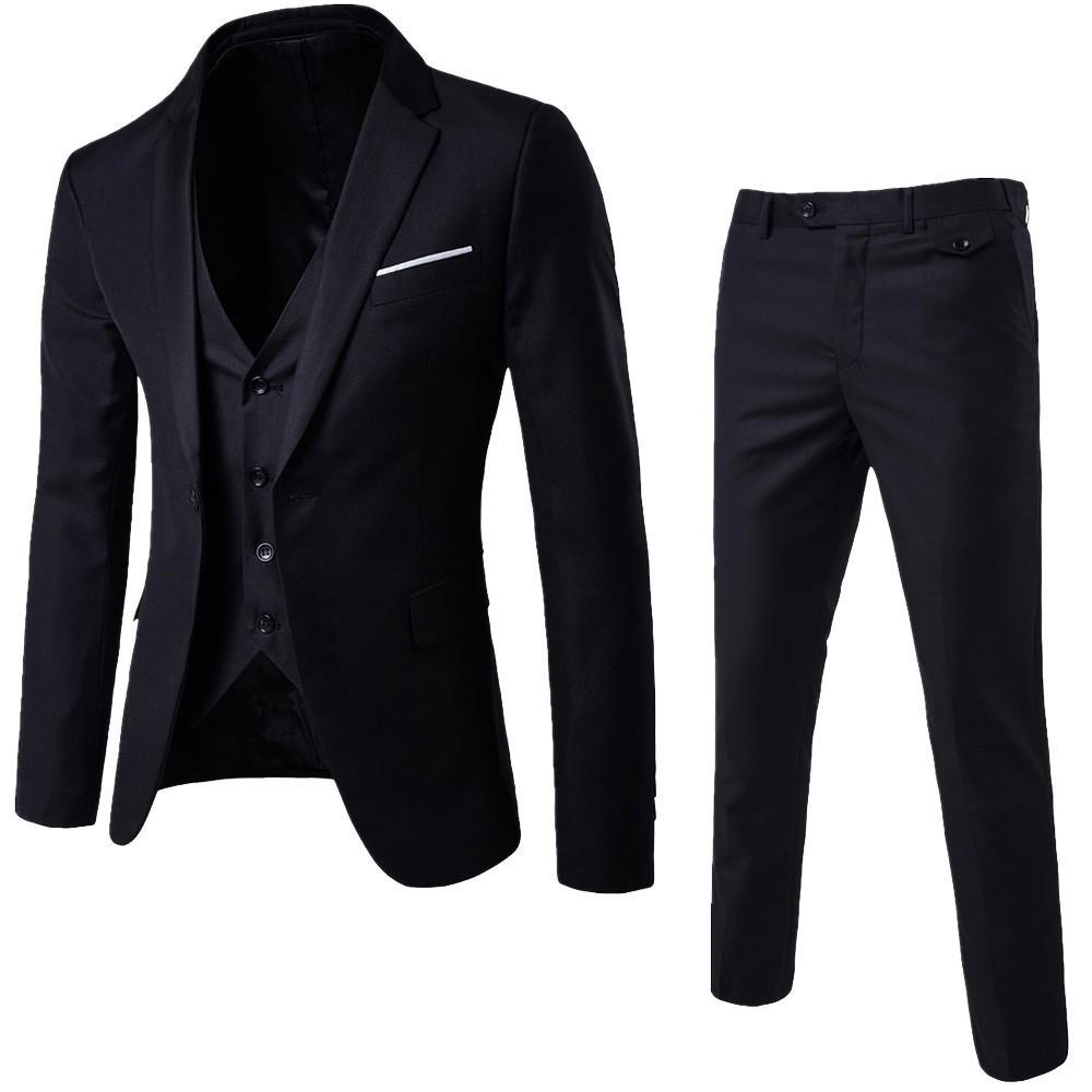 LAAMEI Mens 3 Stück (Jacke + Weste + Hose) Mann Busines Kleid Slim Fit Anzüge feste beiläufigen Büro-Klagen Outwear asiatische L = US XS