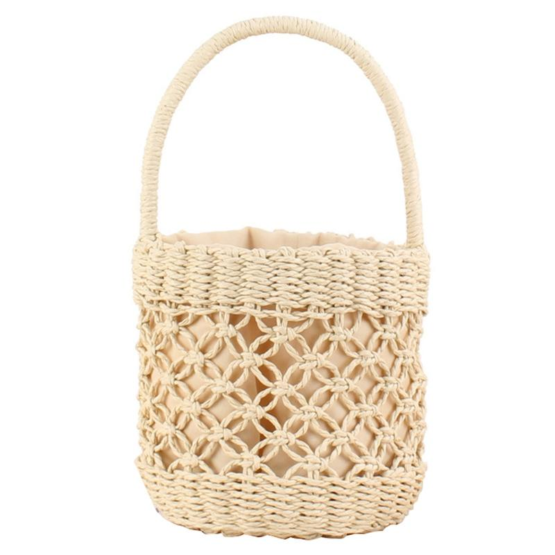 Borse donne della cinghia tessuto Handmade di modo della benna a forma di borsa a spalla paglia Totes signora Straw