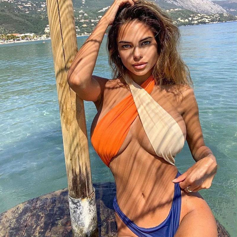 2020 neuen Designer-Europa und Amerika sexy Bikini-Badeanzug weibliche siamesische Explosion Modelle, feste Farbe Zu heißen Verkauf