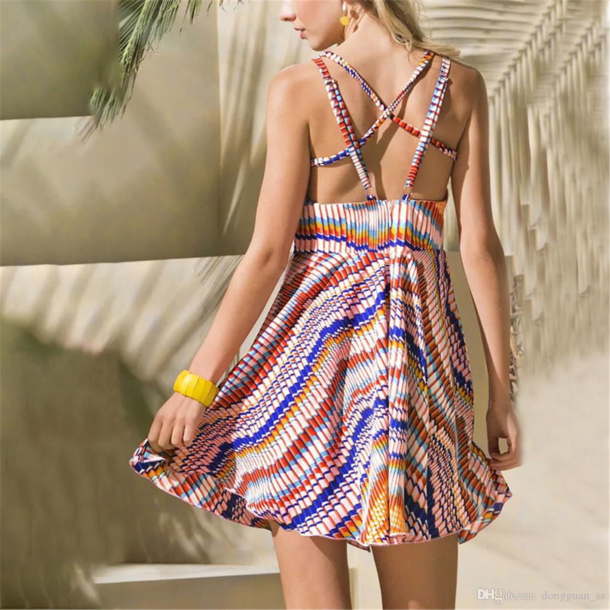 Abiti di spalla delle donne Sundresses a righe stampate Boemia sexy estate fredda Beach Dress Halter regolabile senza spalline partito del vestito