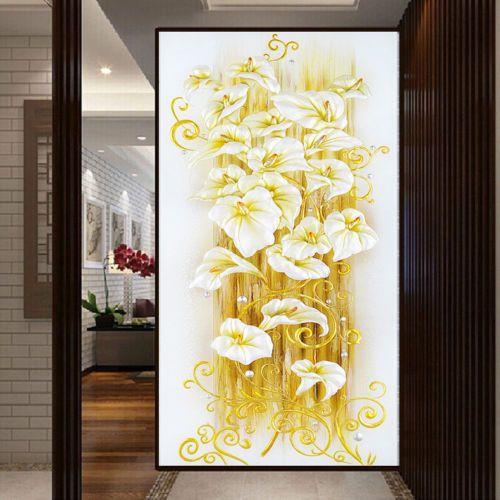 Mode 5D DIY Diamant-Malerei Stickerei-Blumen-Kreuz-Crafts Stich Kit Wandvinyl entfernbare Wand-Kunst-Malereien Aufkleber