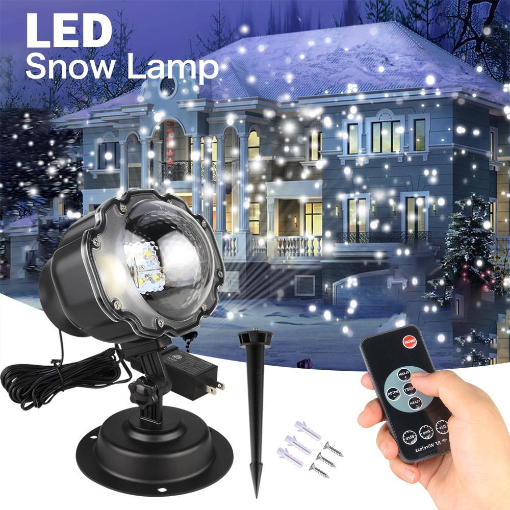 미니 강설 프로젝터 IP65 이동 눈 야외 정원 레이저 프로젝터 램프 크리스마스 눈송이 레이저 크리스마스 파티