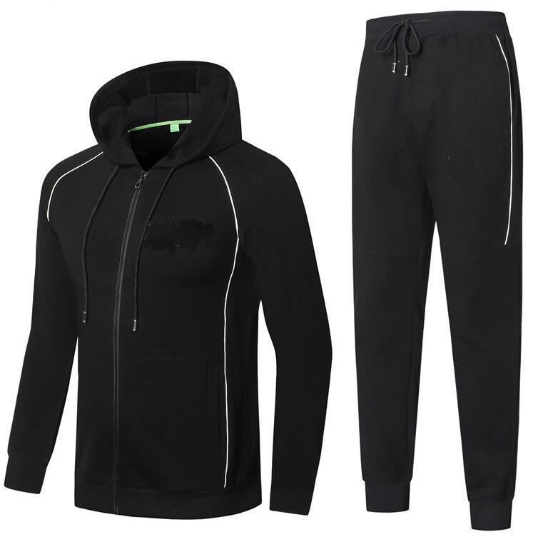Herbst Design Trainingsanzüge Herbst und Winter Hohe Qualität Herren Baumwolle Komfortable schlanke Kapuzenparkigan Jacke Zweiteilige Anzug