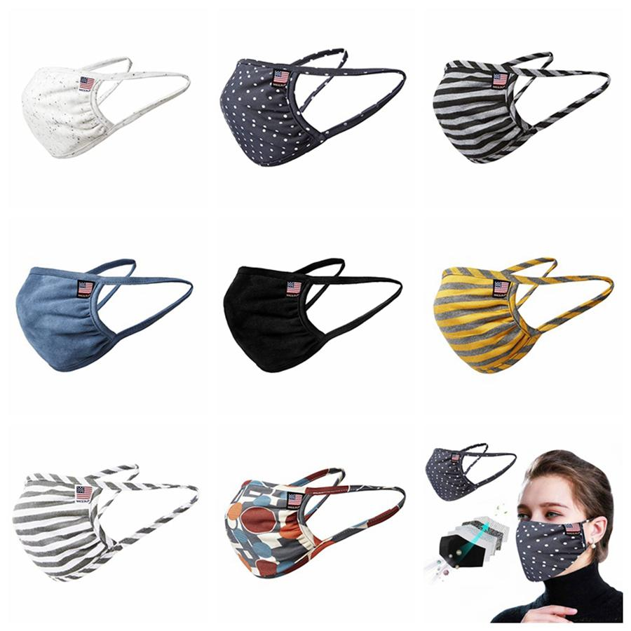 Men Women Summer Masks Washable Cotton Breathable Striped Mask Dustproof Protective Mouth Cover Patchwork Masks RRA3248