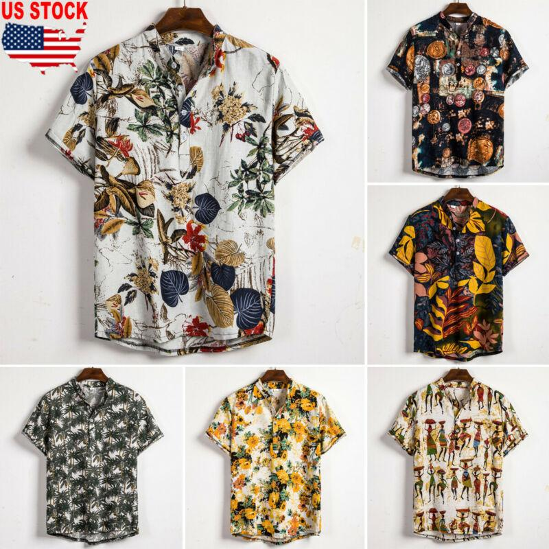 Men Hawaiian Shirt Floral Japanese Style Kimono Button Down Short Sleeve Top Tee