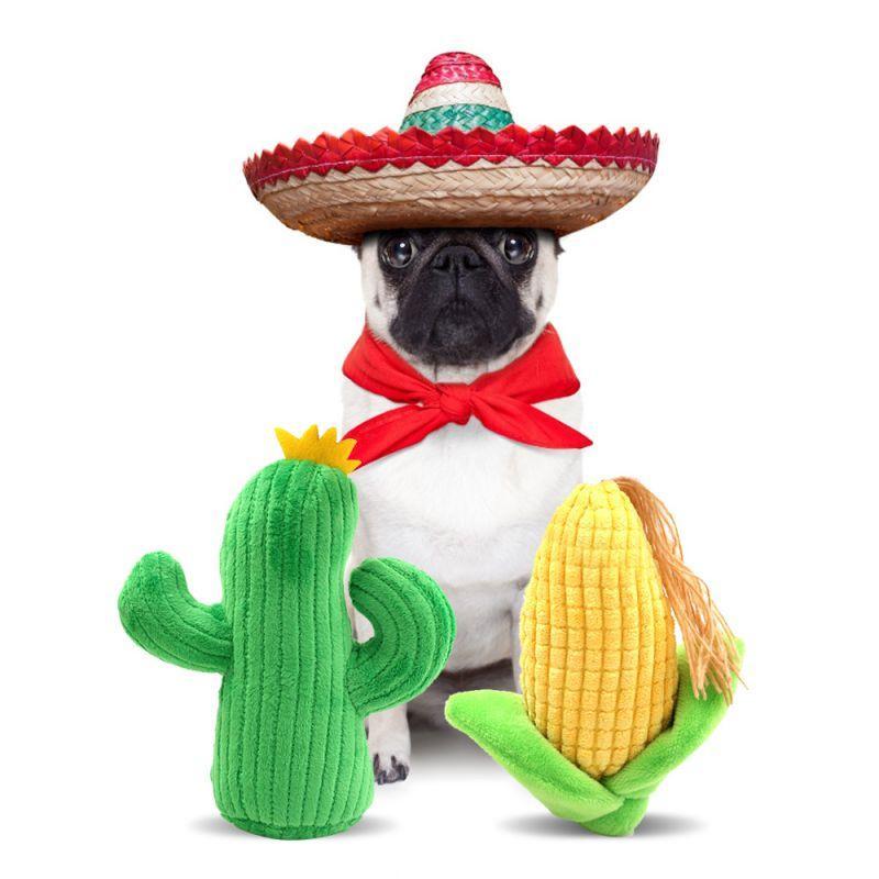 Perro mascota Chew Toys gatito del perrito Molar para la dentición de limpieza felpa linda Cactus callos en forma de fuentes del entrenamiento del perro mascota