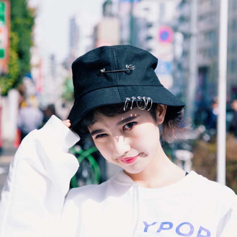 NEW Unisex Damen Herren Bucket Hat mit Pin Ringe Sonnenhut Caps Sommer-Hüte lässig stytle Hip-Hop im Freien Outing Mode