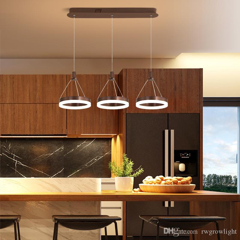 Llevados modernos luces pendientes y pueden colgarse de cocina dinningroom cama luces de la habitación RW40 suspensión luminaria lámpara pendiente de acrílico de brillo metálico +