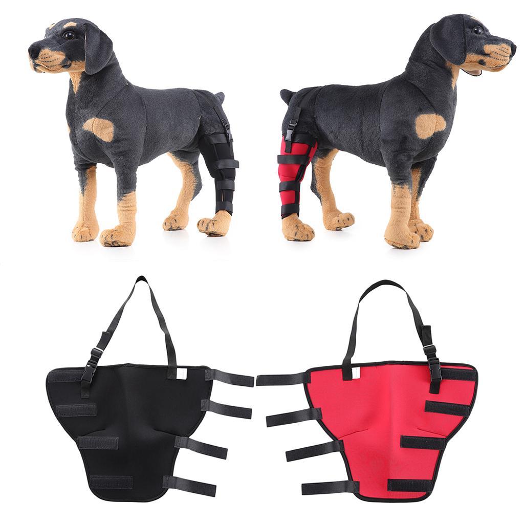 2 حزمة داعمة الكلب الخلفية الساق هوك المشتركة التفاف يحمي الجرح الكلب الكلب الخلفية الساق هوك - أسود أحمر الحجم L