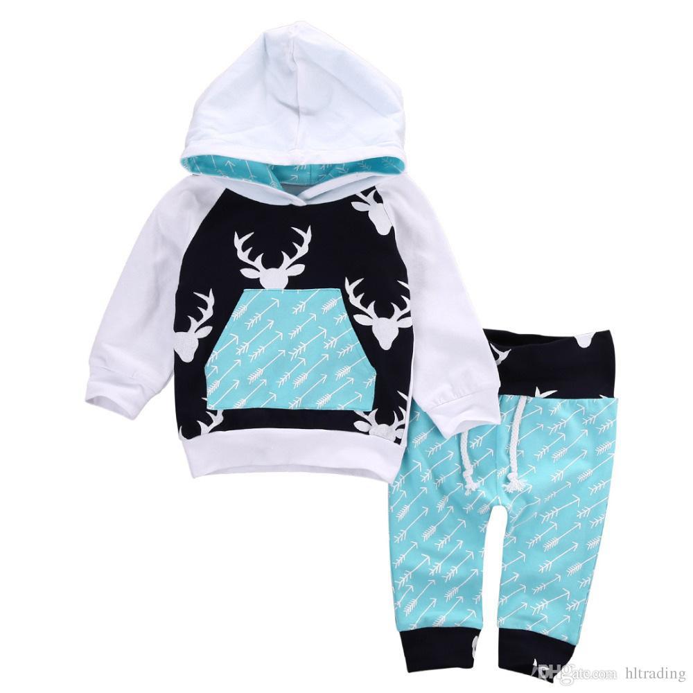 Yenidoğan çocuklar yürüyor bebek erkek kız geyik kapüşonlu hoddie tops + pantolon kıyafetler set giysi 0-5 T ücretsiz shipiing M033