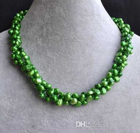 Perle Bijouteries de noces, Triple Brins 3row 18inches Couleur Vert Naturel eau douce collier de perles, Nouvelle-Livraison gratuite
