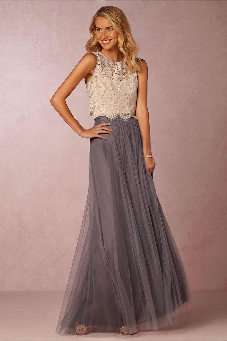 2020 Two Pieces Vintage Top Lace Vestidos Tulle Ruched até o chão Blush Mint Grey Prom Party Vestidos Lace Vestido formal