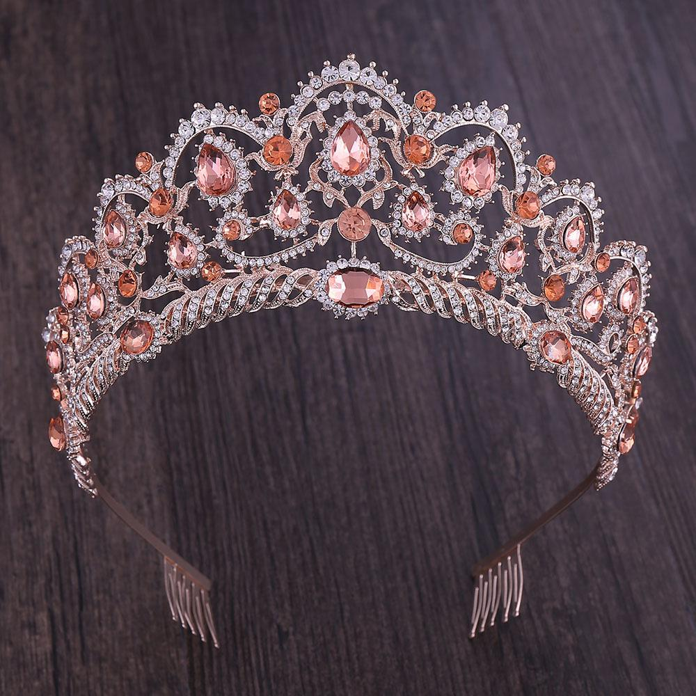 KMVEXO Rose Gold şampanya Vintage Barok Kraliçe Kral Saç Takı Kristal Çelenkler Taçlar Tarak Bantlar Gelin Yapay elmas Diadem Y200409