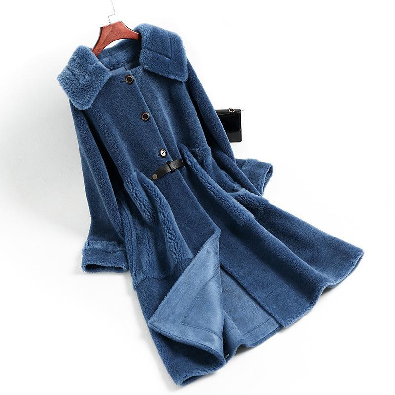 Outono Inverno Casaco feminino Roupa 2020 Streetwear real casaco de pele de lã Jacket Sheep coreano Vintage Shearling Suede ZT3356 Forro