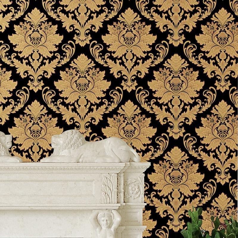 3D vinyl Luxury Gold Damask Wallpapers European Vinyl Textured Wall Paper Living room Bedroom black PVC Wallpaper