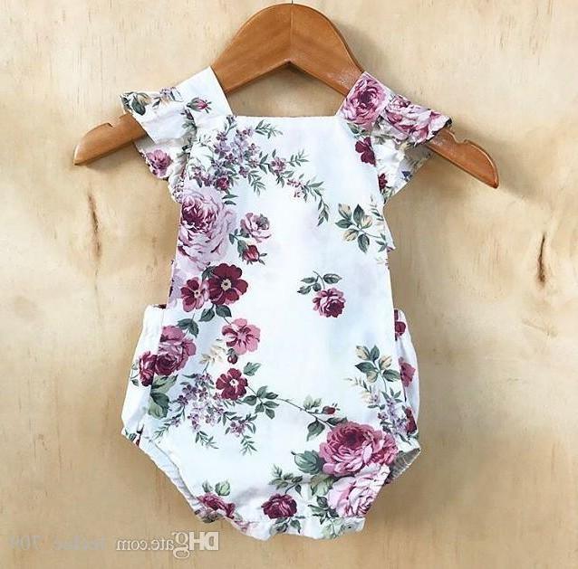 Bébé Filles Fleur Croix Dos Barboteuses Summer Infant Boutique Vêtements Ins Bébé Bébés Filles Ruffle Cap Manches Floral Barboteuses