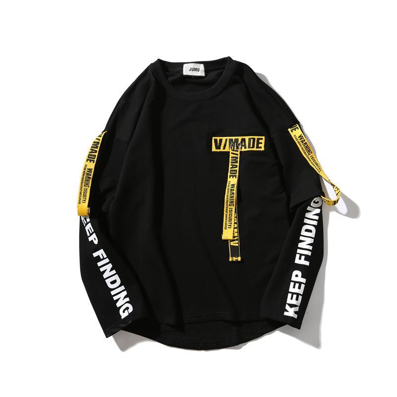 Дизайнерский пуловер пара свитер мужчины и женщины хип-хоп лента поддельные два свободные с длинными рукавами футболки Азии плюс размер мода корейская версия