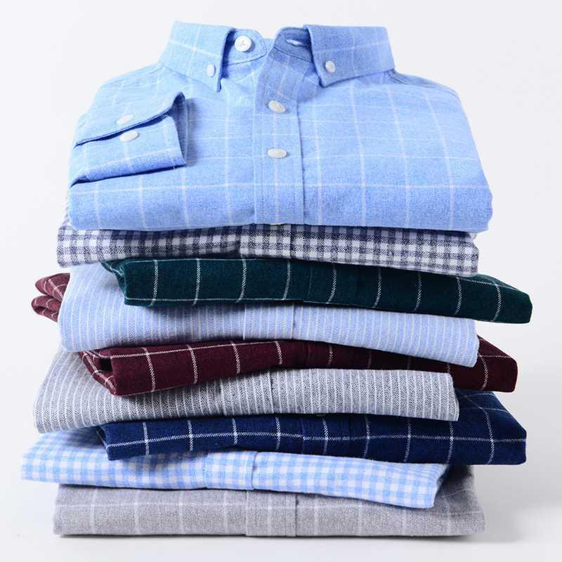 Beiläufige Mens-Plaid-Kleid Langarm-Shirt aus reiner Baumwolle weiche Gewebe-Regular Fit Designer stilvolle Qualitäts-Shirts