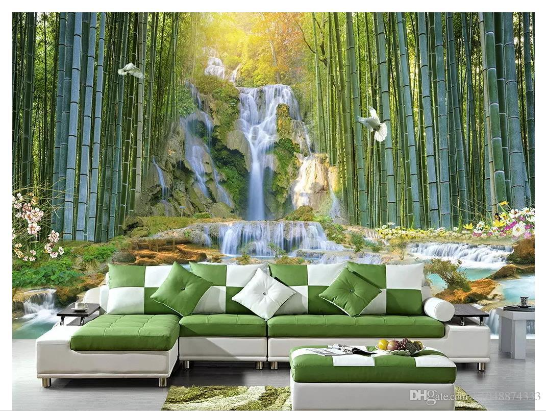 3d duvar kağıdı özel fotoğraf Ipek duvar kağıdı duvar Bambu Orman Şelale Su Parkı 3d Peyzaj Kanepe Yatak Odası Arka Plan Duvar papel de parede