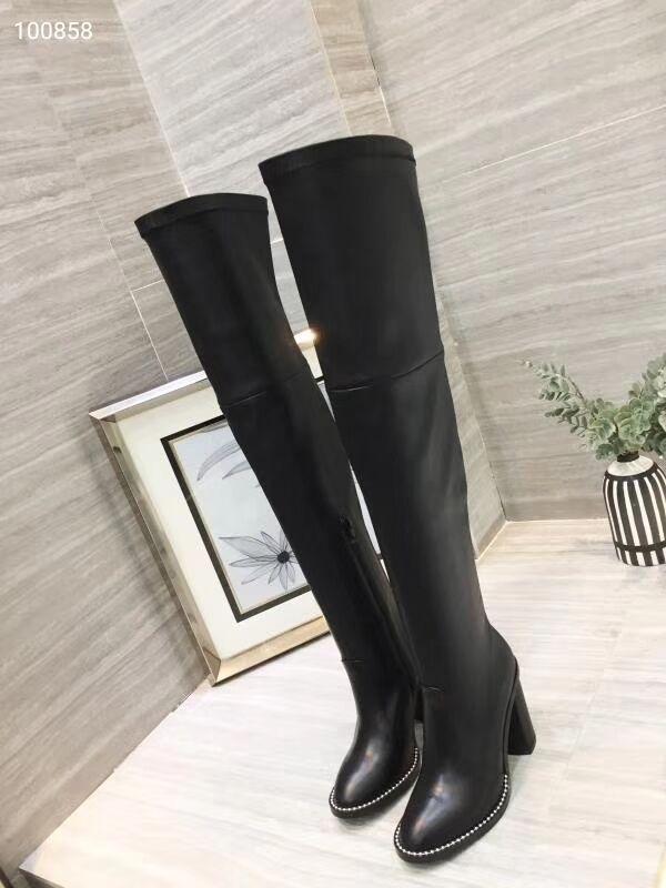 Otoño invierno del remache sobre la rodilla botas de las mujeres del cuero auténtico estiramiento Botas Negro cremallera cuadrado de los zapatos del talón Nueva