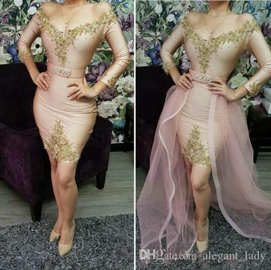 2019 robes de bal sexy courtes avec train détachable col en V appliques manches longues en dentelle applique cocktail soirée robes