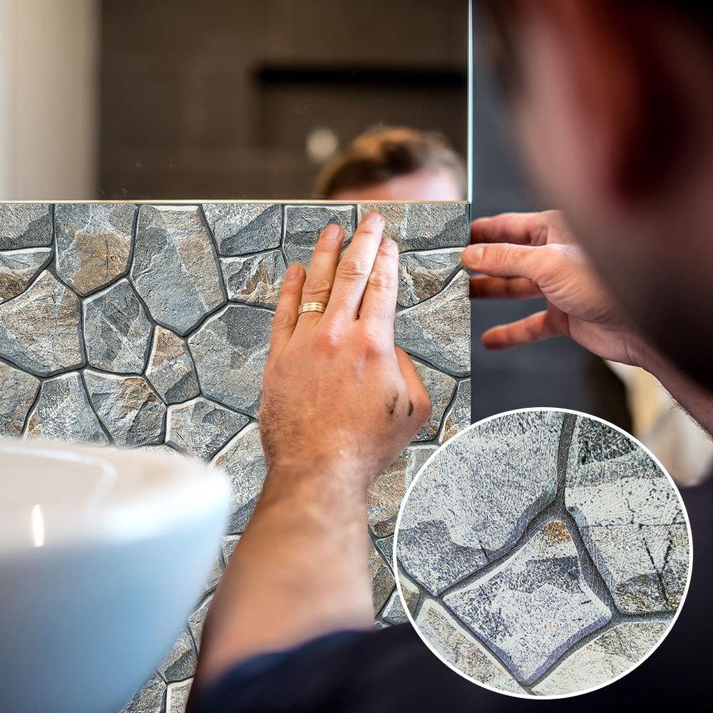 Patrón 3d piedra etiqueta de la pared de la sala dormitorio principal de fondo grueso Decoración pegadosFabricación empalme del papel pintado adhesivos de PVC mural