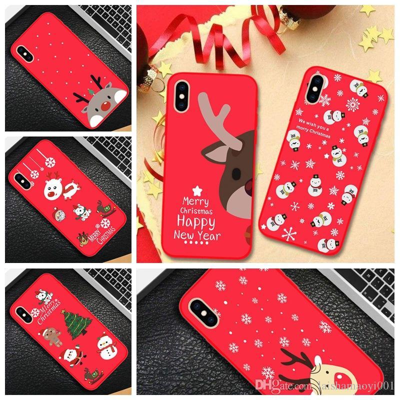 Regali di Natale per Iphone Xs Max Xr 6 7 8 X Plus Custodia per telefono Custodia per cellulare in gel di silice di lusso
