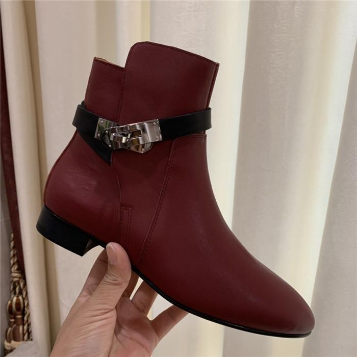 Hot cuir Vente-Martin Véritable cheville Bottes, doux Botte d'hiver pour femmes Chaussettes Sneakers dernières chaussures Designer avec boîte Taille 35-40