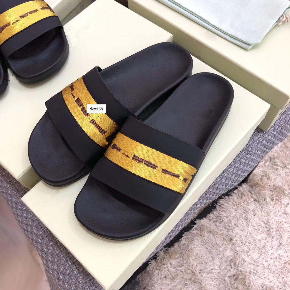Горячая продажа Последние Проектировщик Off Повседневная обувь крытый пляж тапочки белая печать пару обуви Последний размер 36