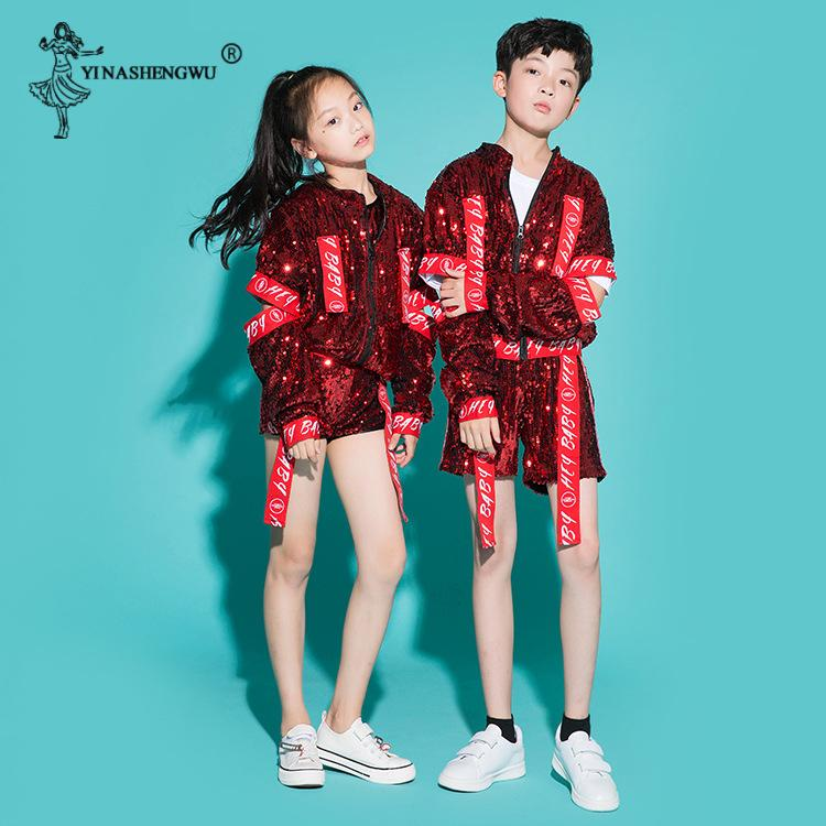 Children Jazz Dance Costumes For Girls Boy Sequin hip-hop Dance Jazz Kids Street Competitions Performance Stage Clothing