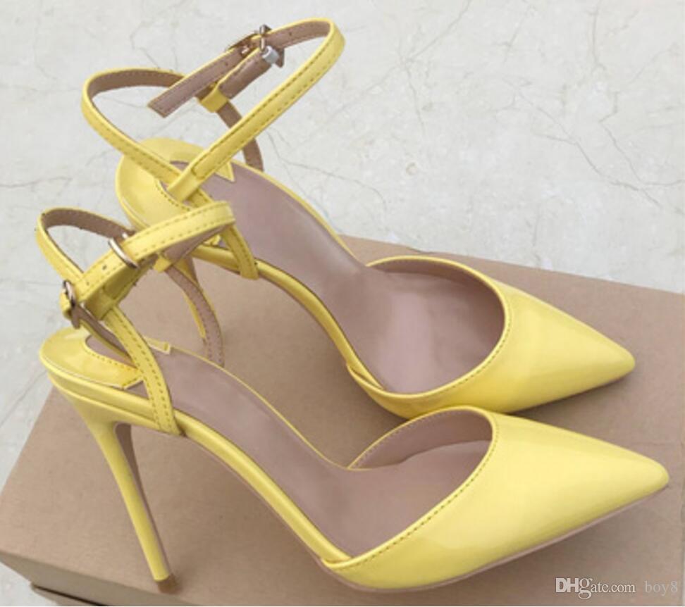 Couros amarelo limão do Sandals Mulheres Red inferior cúspide Belas calcanhar sapatos de salto alto código Big 44 Shallow boca único sapato 10 centímetros 12 centímetros oito centímetros