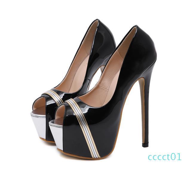 moda siyah platformu parti gece elbisesi ayakkabıları bayan ayakkabı tasarımcısı ultra yüksek topuklu 16cm lüks kadın tasarımcı 40 boyutu 34 pompalar