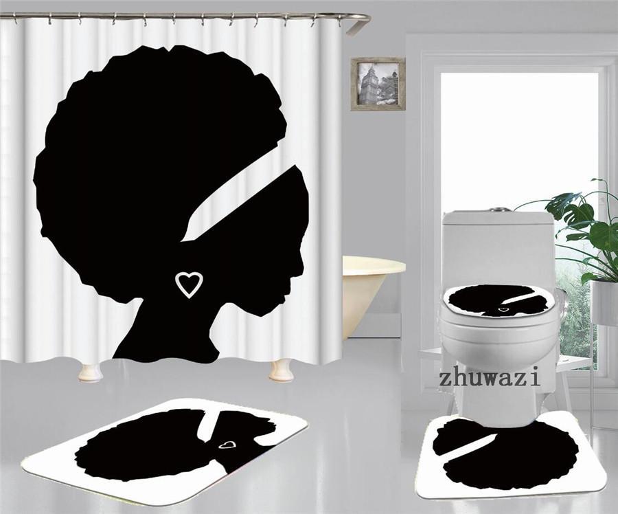 African Women Print Shower Curtain Fashion White Toilet Seat Cushion Simple Letter Toilet Seat Cover Door Mat Thick Non-slip Bathtub Mat
